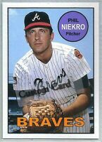 PHIL NIEKRO ATLANTA BRAVES 1969 STYLE CUSTOM MADE BASEBALL CARD BLANK BACK