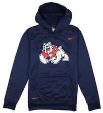 NIKE Fresno State Bulldogs Logo Print Hoodie X-Large Navy Blue Pullover Sweater