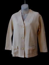 Vintage Size 12 Genuine Crestknit Cardigan Jacket Jumper Womens Beige Knit