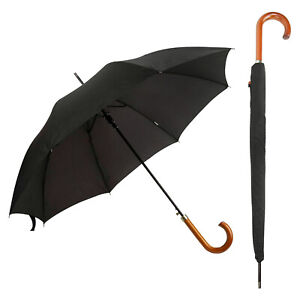 DUA Classic Gents Auto Walking Length Black Umbrella with Wood Handle and Sleeve