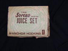 Anchor Hocking 7 Piece Soreno Design Juice Set Pitcher & 6 Glasses Amber MIB