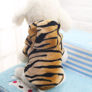 Puppy Pet Dog Cat Tiger Fur Pattern Clothes Hoodie Winter Warm Costume Apparel S