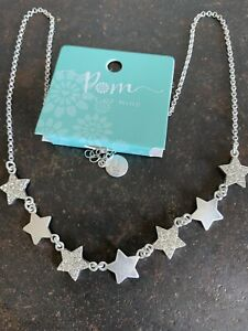 POM Boutique Silver Plated Multi Star Necklace With Crystals