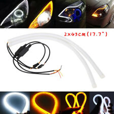 2x45cm DC 12V DRL LED Strip White Amber Tube Switchback Headlight For Audi Style
