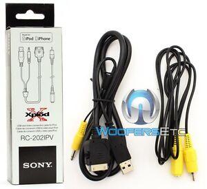 SONY RC-202IPV IPOD IPHONE AUDIO VIDEO CABLE DVD CAR STEREO RADIO USB AUX PLUG