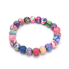 Chic Women Handmade National Colorful Polymer Clay Beads Bracelets Hand Chain 0h 8mm