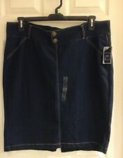 Ashley Blue, women's plus size 2X, jean cotton skirt, stretch,  NWT