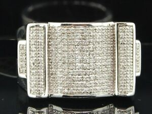 Mens 14K White Gold Over Ice Diamond Engagement Wedding Band Pinky Ring 2.00 Ct