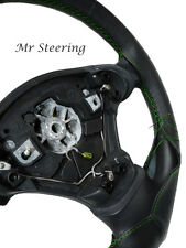 FOR BMW E60 E61 03-10 BLACK ITALIAN LEATHER STEERING WHEEL COVER GREEN STITCHING