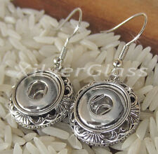 NOOSA STYLE CHUNKS SNAP EARRINGS VINTAGE ANTIQUE LOOK SILVER PLATED HOOK