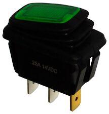 Interruptor conmutador de botón SPST ON-OFF 25A/12V, 2 posiciones IP65, Verde