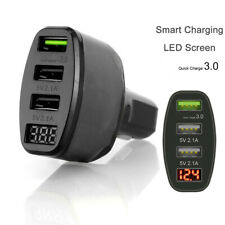 3-Port USB Car Charger Adapter LED Display QC 3.0 Fast Charging for Android IOS