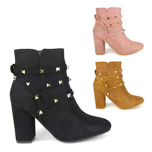 New Womens Suede Ankle Boots Rock Stud Mid High Block Heel Strapy Ladies Booties