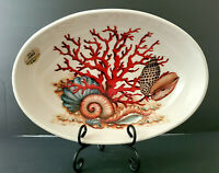 EFFETTI d'Arte ~ Lg Oval Bowl~Red Coral & Seashells~Handmade in ITALY~BRAND NEW