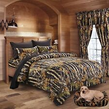 "7PC SET BLACK CAMO COMFORTER SHEET SET WOODS 86"" X 94"" QUEEN CAMOFLAUGE BEDDING"