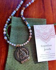 Amazonite Buddha Necklace Beads Gypsy Yoga Boho 46cm Long Buddhist Harmony Gold