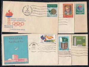 PAKISTAN Six FIRST DAY COVERS Lot C (UN Agencies, Montessori, Hockey)