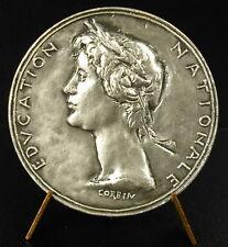 Médaille argent Education Natrionale à Jeanne Narbonne 45 mm silver médaille