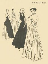 Vintage 1940's Sewing Pattern WWII Evening Halter Neck Dance Gown Draped B 34""