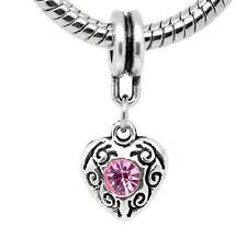 Pink October Birthstone Heart Dangle Bead for European Charm Bracelet