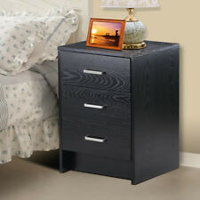 Bedside Table Cabinets Units Nightstand with 3 Drawers