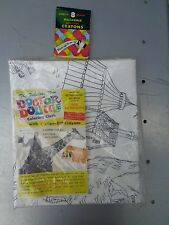 VINTAGE LARGE 1967 DOCTOR DO LITTLE DOLITTLE COLORING CLOTH NIP W/CRAYONS
