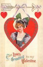 VALENTINE HOLIDAY WOMAN HEART TRUE LOVE GREETINGS EMBOSSED POSTCARD (c. 1909)