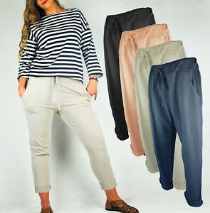 LADIES MAGIG JOGGERS SLIM FIT SUPER STRETCH CASUAL TROUSERS POCKETS TURN UP 8 16