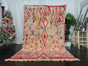 "Boujad Handmade Moroccan Vintage Rug 5'8x9'3"" Berber Abstract Red Green Wool Rug"
