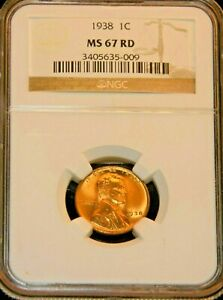 PQ #G714 1938 P Lincoln Wheat Cent NGC MS65RD Bright Red Superb Luster