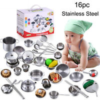 16 Pcs Set House Kitchen Toys Cookware Cooking Utensils Pots Pans Gift For Kids