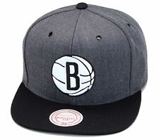 "Mitchell & Ness Brooklyn Nets Snapback Hat Dark Heather Grey/Black/White ""B"""