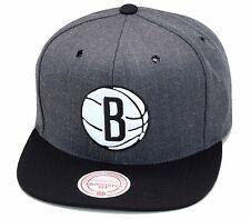 "Mitchell & Ness Brooklyn Nets Snapback Hat Dark Heather Grey/Black/White ""B"""