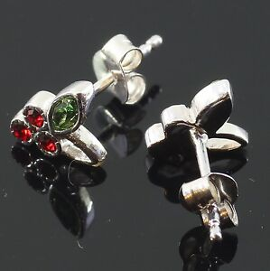 Pair Ladies Girls Stud Earrings Silver Fashion Fruits Cherry Blossom Scroll Back