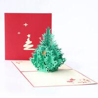 Pop-Up Weihnachtskarten rot klappbar 3D Weihnachtsbaum Tannenbaum Grußkarte