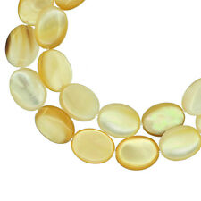 Mother of Pearl Sea Shell Flat Oval Beads 8x12mm Natural Golden Yellow #75142