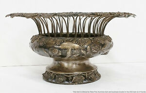 Rare William Thomson New York 1834 Grape Leaf Fruit Bowl American Coin Silver