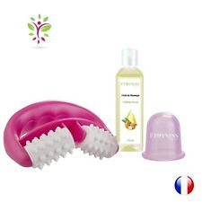 LOT rouleau FIT ROLL + ventouse anti cellulite + HUILE massage minceur - ROSE