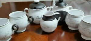 Czech Coffee Cups, Creamer, Canister & Aroma Lamp White Brown Crackle Glaze