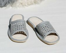 Womens Ladies Slippers Sandals Home Shoes Natural Leather Grey Kapcie ALL SIZES