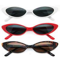 Designer Small Cat Eye Fashion Sunglasses Dark Lens Thin Plastic Frame Women