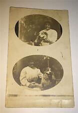Antique American Double Image Woman & Pet Dog! Real Photo Postcard! Animal RPPC!