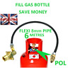 UK Bayonet LPG Filling Point to Gas Propane Bottle 6 Meters FLEXI pipe pol