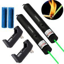 2Pc Durable Green Laser Pointer Pen Visible Beam Rechargeable Lazer+Batt+Charger