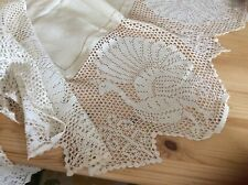 "Unused Antique Irish Linen Supper Cloth Deep Crochet Lace w/ Peacocks 42"" + 11"""