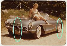 Rarität Orig Farb Foto von 1959 Auto Chevrolet Corvette Frau Pin-Up Bikini NY