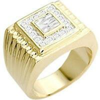 18K GOLD EP MENS PRINCESS CUT DIAMOND SIMULATED RESS RING size 8-13 you choose