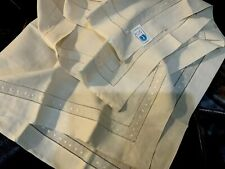 "100% Linen NWT (1) Tablecloth 45""x45"" Drawnwork Beige New"