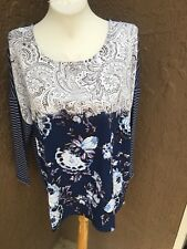 Chico's Linear Floral Woven Stripe Navy Blue White Top Size 3 XL 16 18