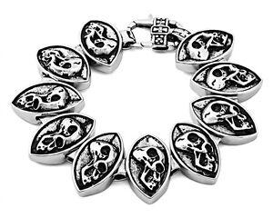 Punk Rocker Biker Gothic Titanium Skull 8.5 inch Stainless Steel Bracelet Chain